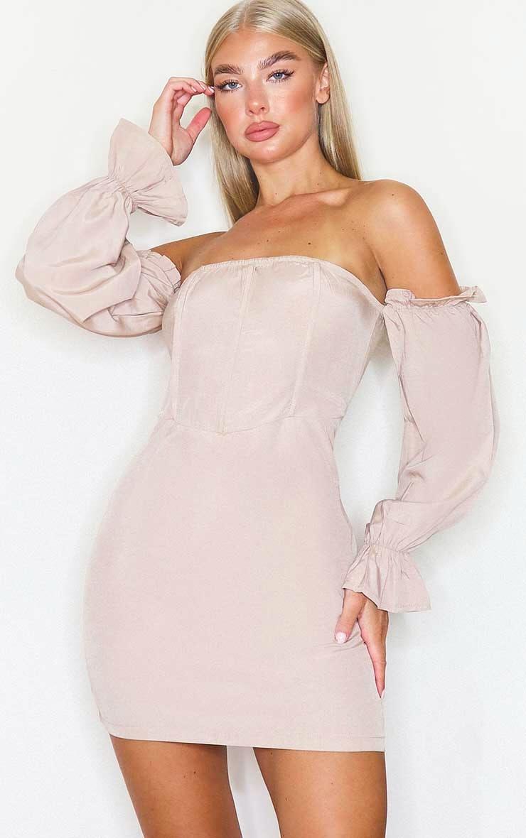 Stone Bardot Corset Detail Woven Bodycon Dress 1