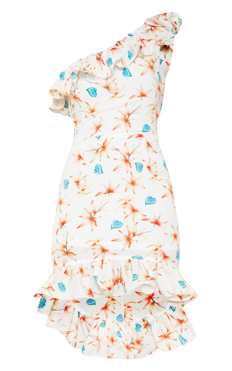 White Floral Print One Shoulder Midi Dress 3