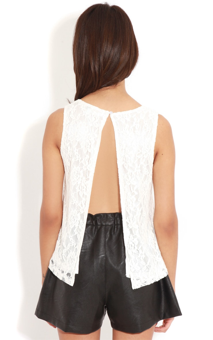 Leilani White Open Back Lace Top 2