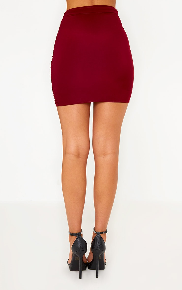 Burgundy Ruched Layered Slinky Mini Skirt 3
