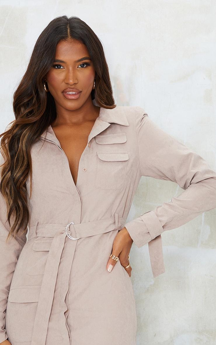 Grey Peach Skin Buckle Tie Detail Bodycon Dress 4