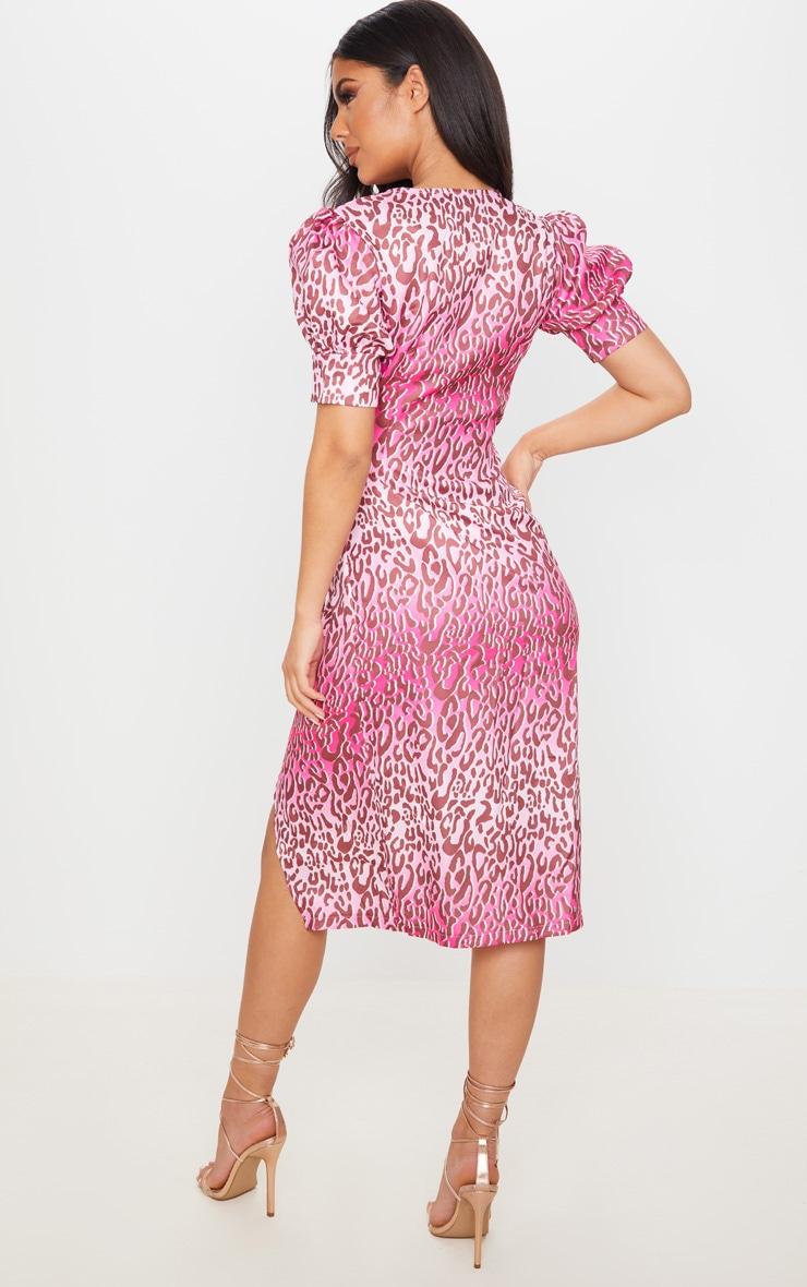 Pink Leopard Print Wrap Tie Puff Sleeve Midi Dress 3