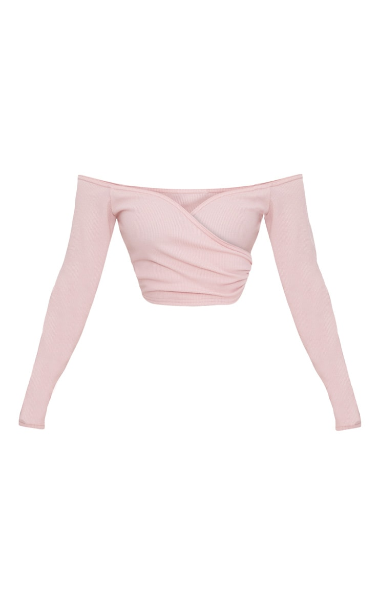 Shape Rose Wrap Bardot Ribbed Crop Top 3