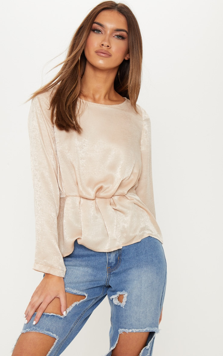 Champagne Brushed Satin Pleat Detail Blouse