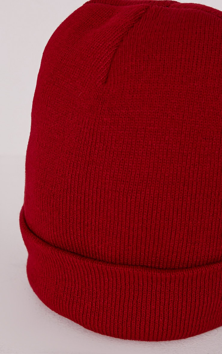Billi Red Plain Beanie Hat 4