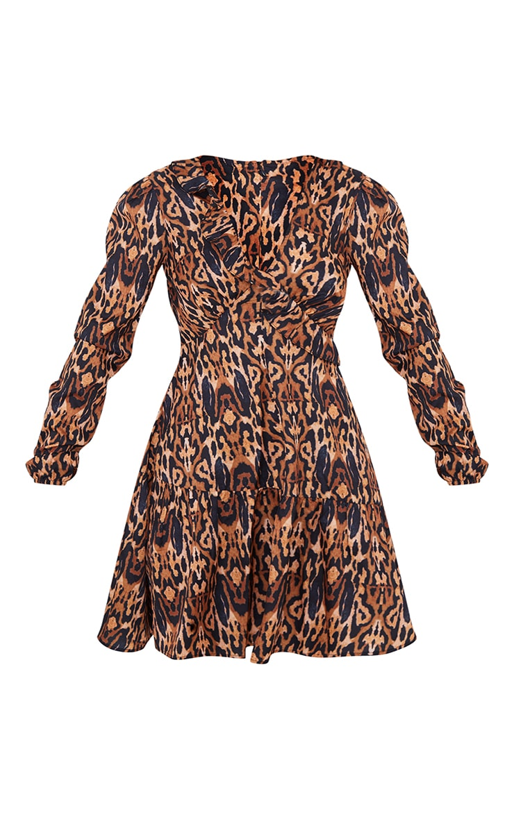 Brown Leopard Print Frill Bust Detail Drop Hem Tea Dress 5
