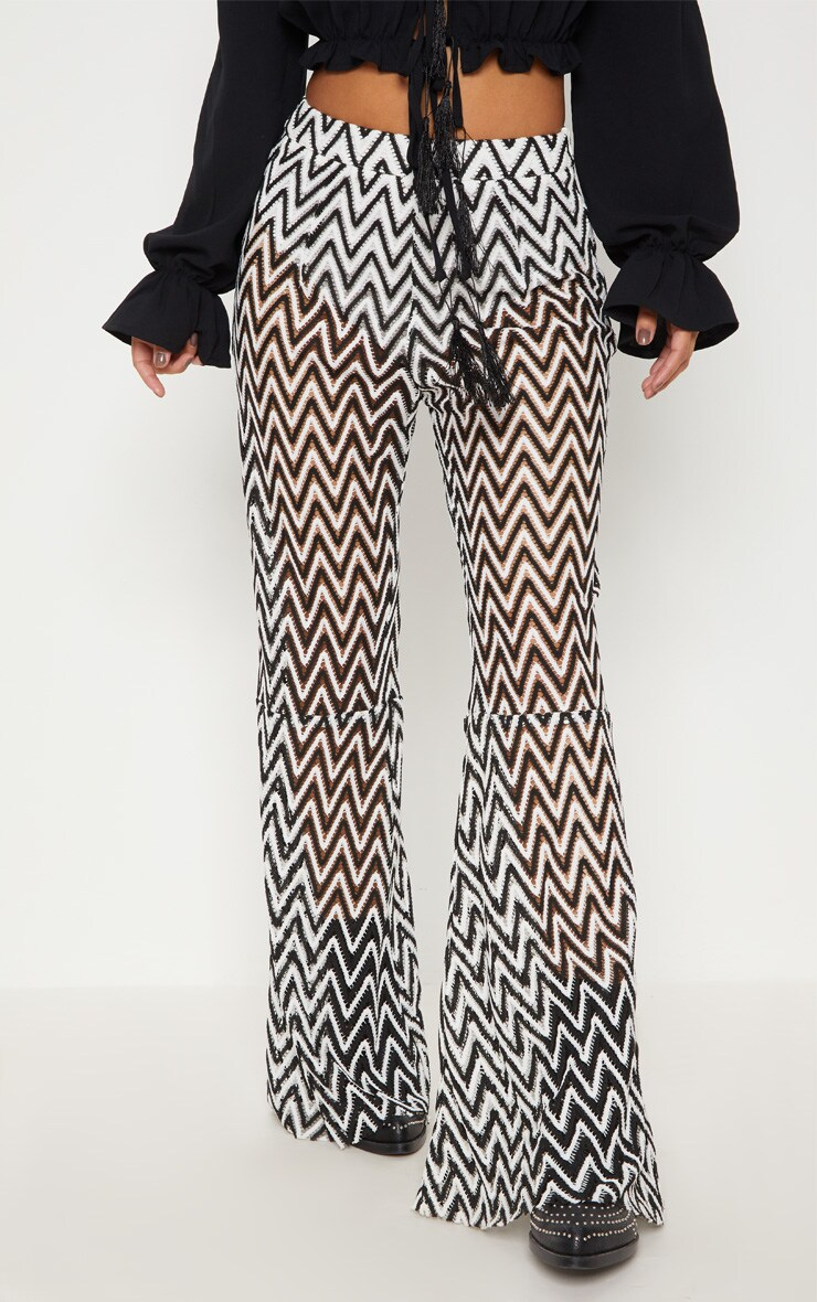 Petite White Chevron Lace Flared Trousers 2