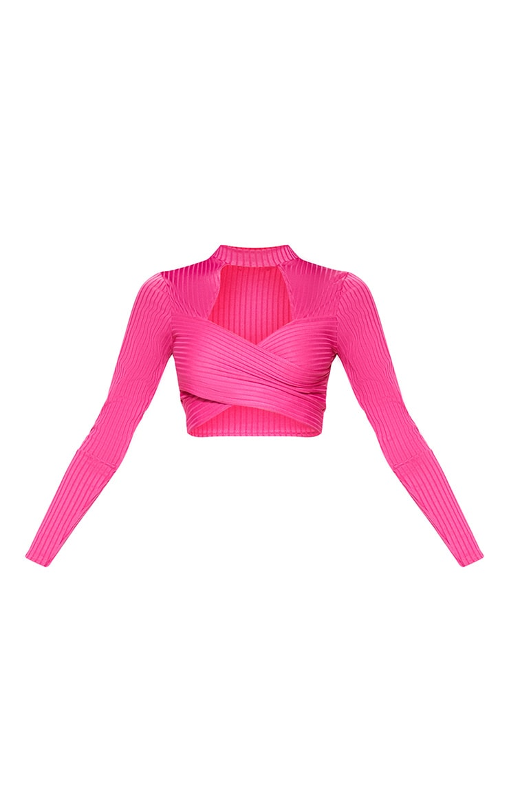 Hot Pink Bandage Cut Out Wrap Crop Top 3