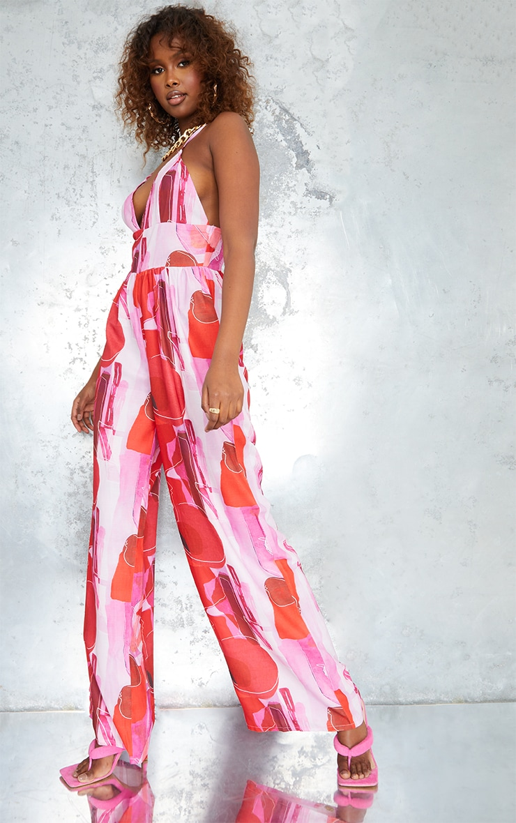 Pink Abstract Print Cross Back Strappy Wide Leg Jumpsuit 3