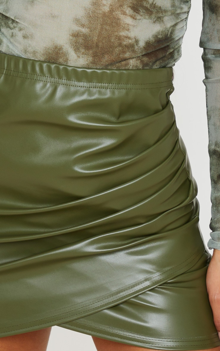 Khaki Faux Leather Ruched Wrap Skirt 6