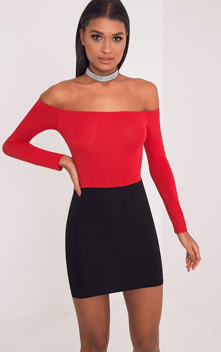 Miyana Red Contrast Bardot Bodycon Dress 1