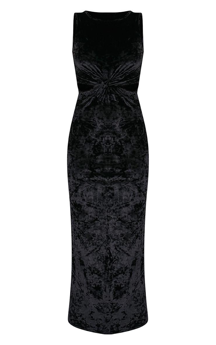 Jaydiah Black Crushed Velvet Cut Out Maxi Dress 3
