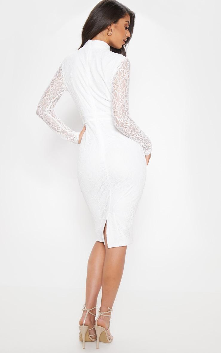 White Lace Binding Detail High Neck Midi Dress 2