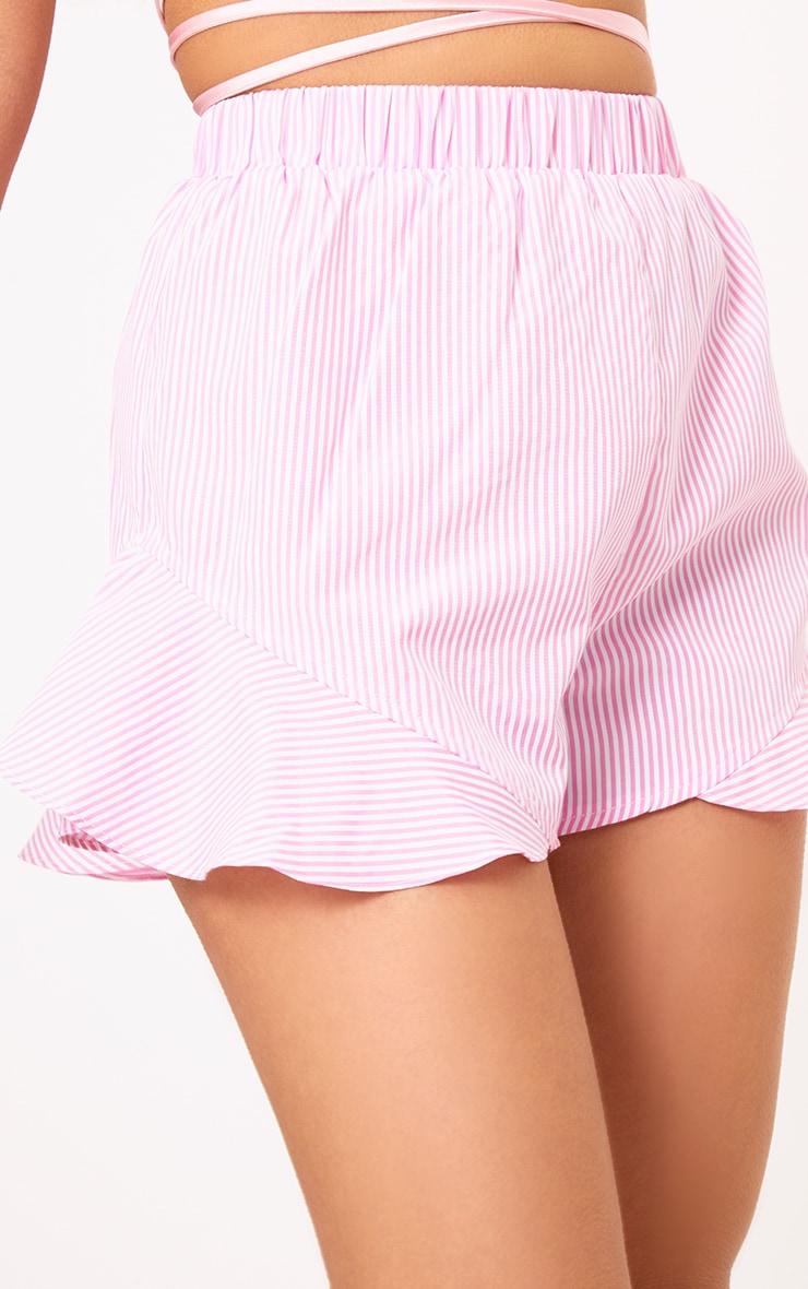 Charise Pink Pinstripe Frill Hem Shorts 6