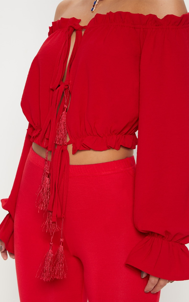 Petite Red Tie Front Tassel Detail Bardot Crop Top 4