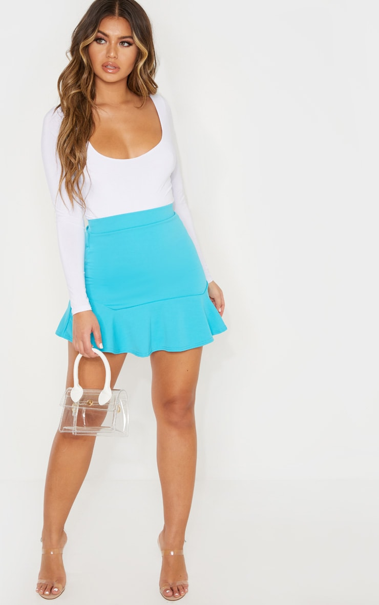 Bright Blue Flippy Hem Mini Skirt 5