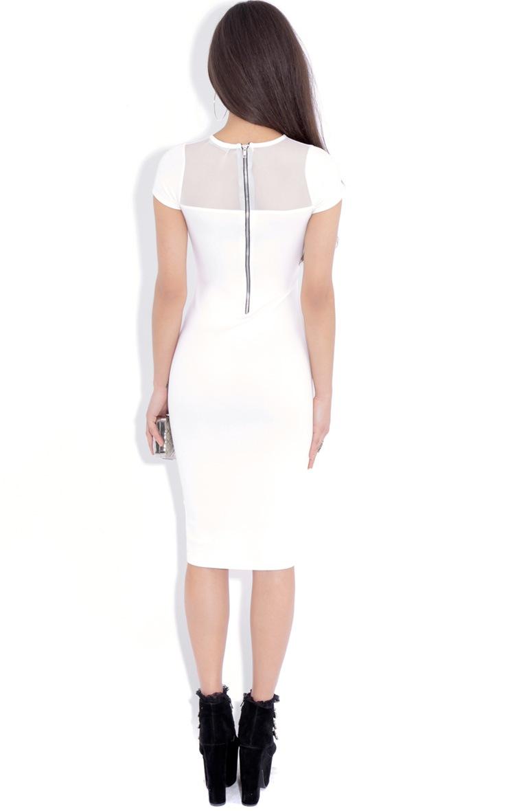 Whitney White  Mesh Panel Midi Dress 2
