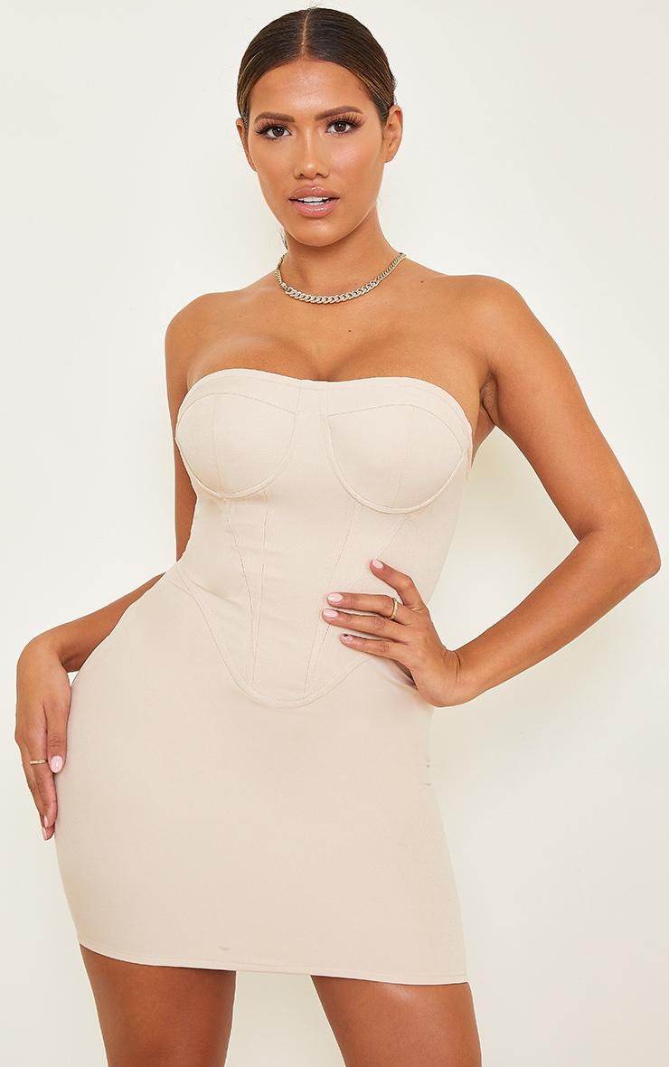 Shape Nude Corset Detail Bodycon Dress 1