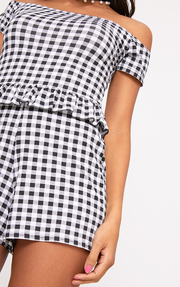 Black Gingham Frill Middle Playsuit  5
