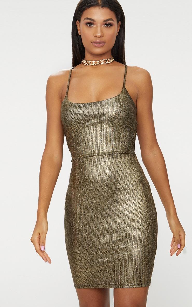 Gold Metallic Strappy Back Bodycon Dress  2