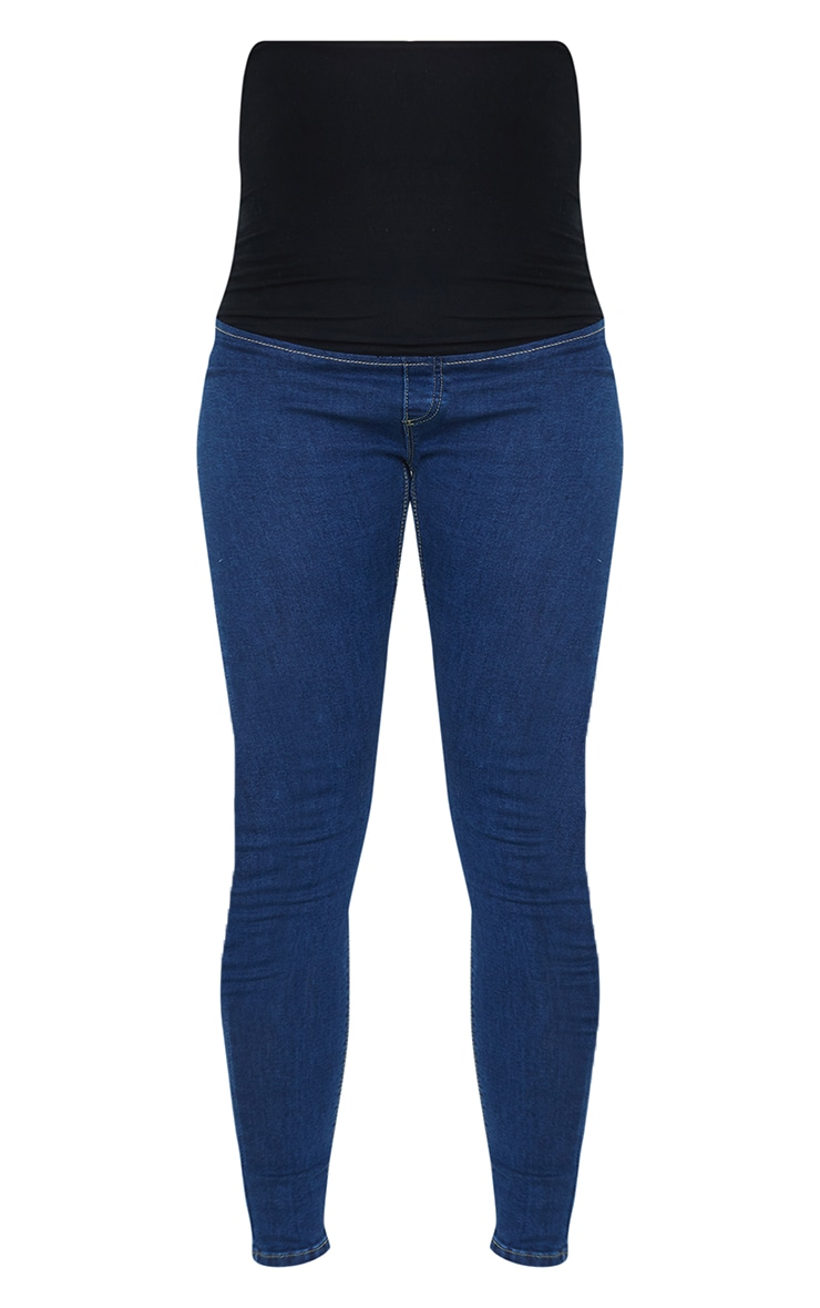 Maternity Mid Wash Pull On Skinny Jeans 5