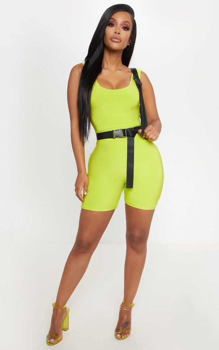 Shape Neon Lime Slinky Scoop Neck Unitard  1