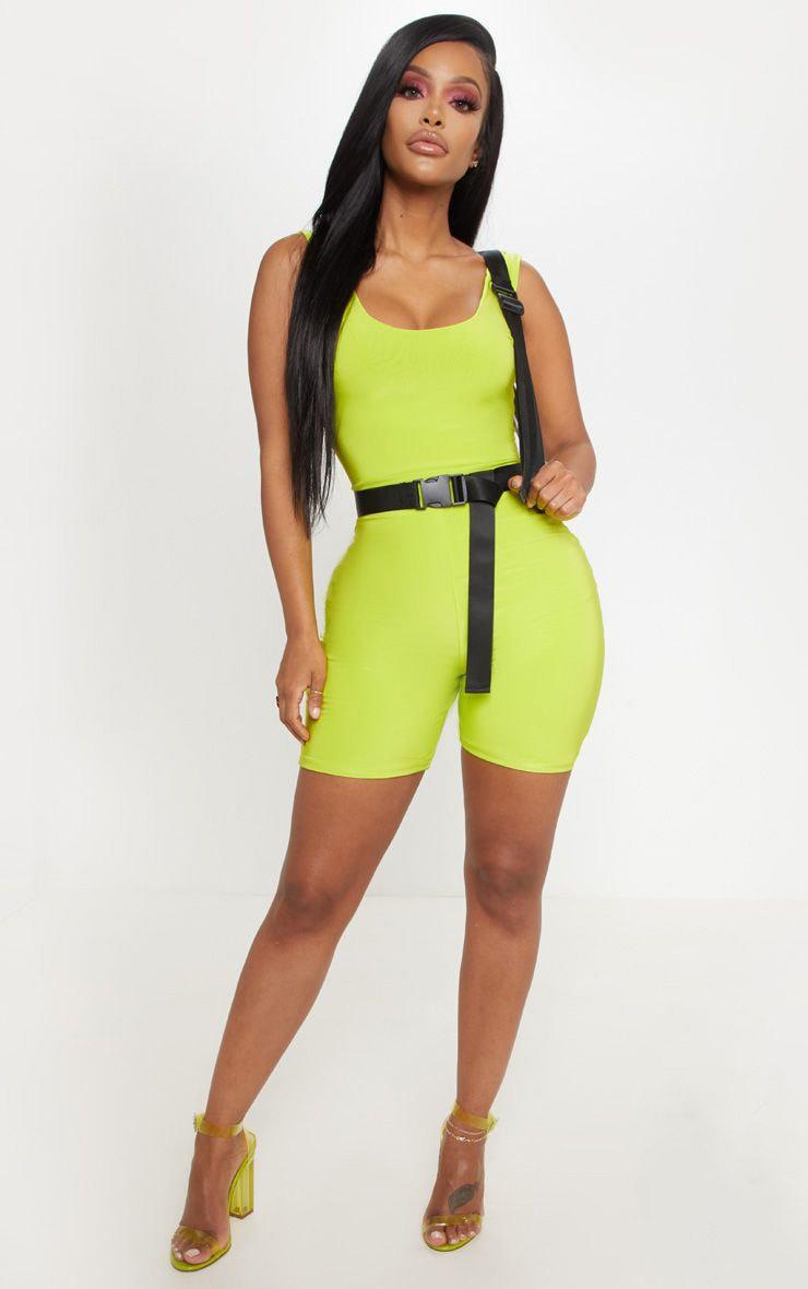 Shape Neon Lime Slinky Scoop Neck Unitard 1
