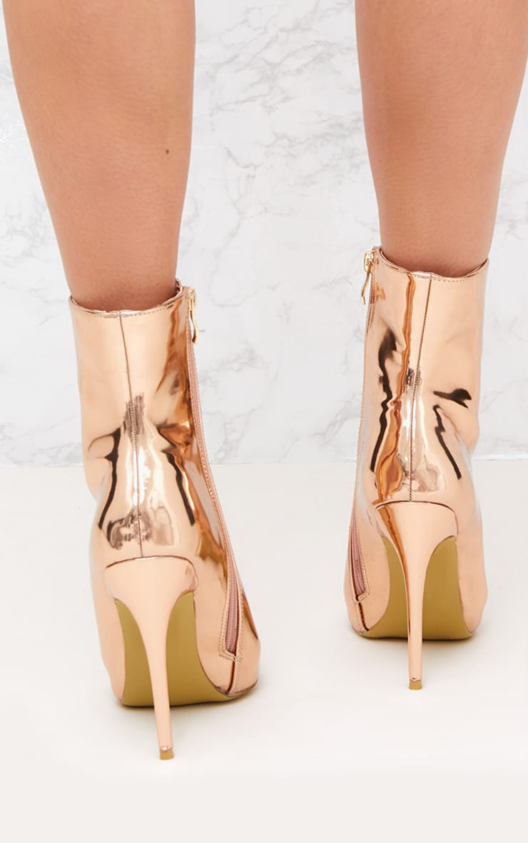 Rose Gold Metallic Heeled Ankle Boot 4
