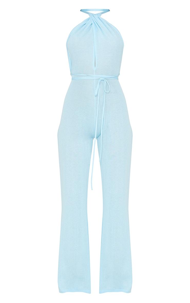 Baby Blue Sheer Knit Halterneck Tie Waist Jumpsuit 4
