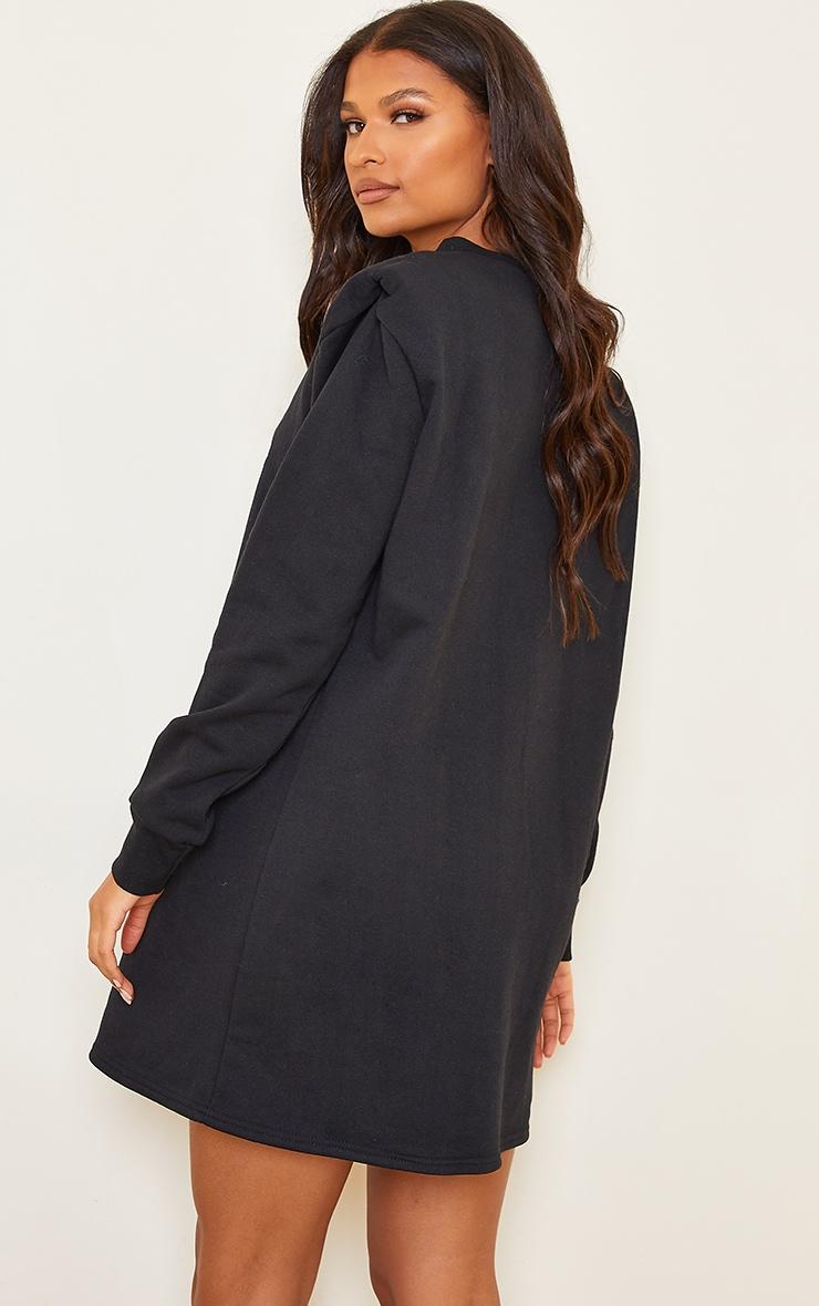 Black Shoulder Pad Detail Jumper Dress 2