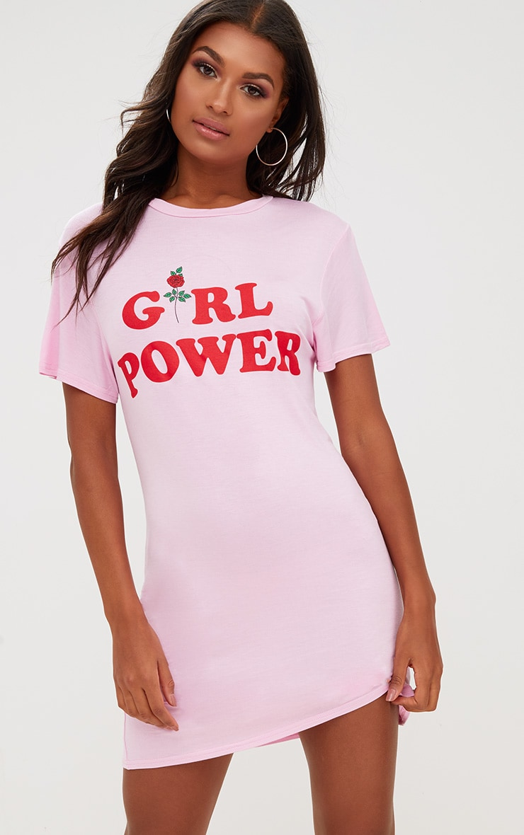 Pink Girl Power T Shirt Dress 4