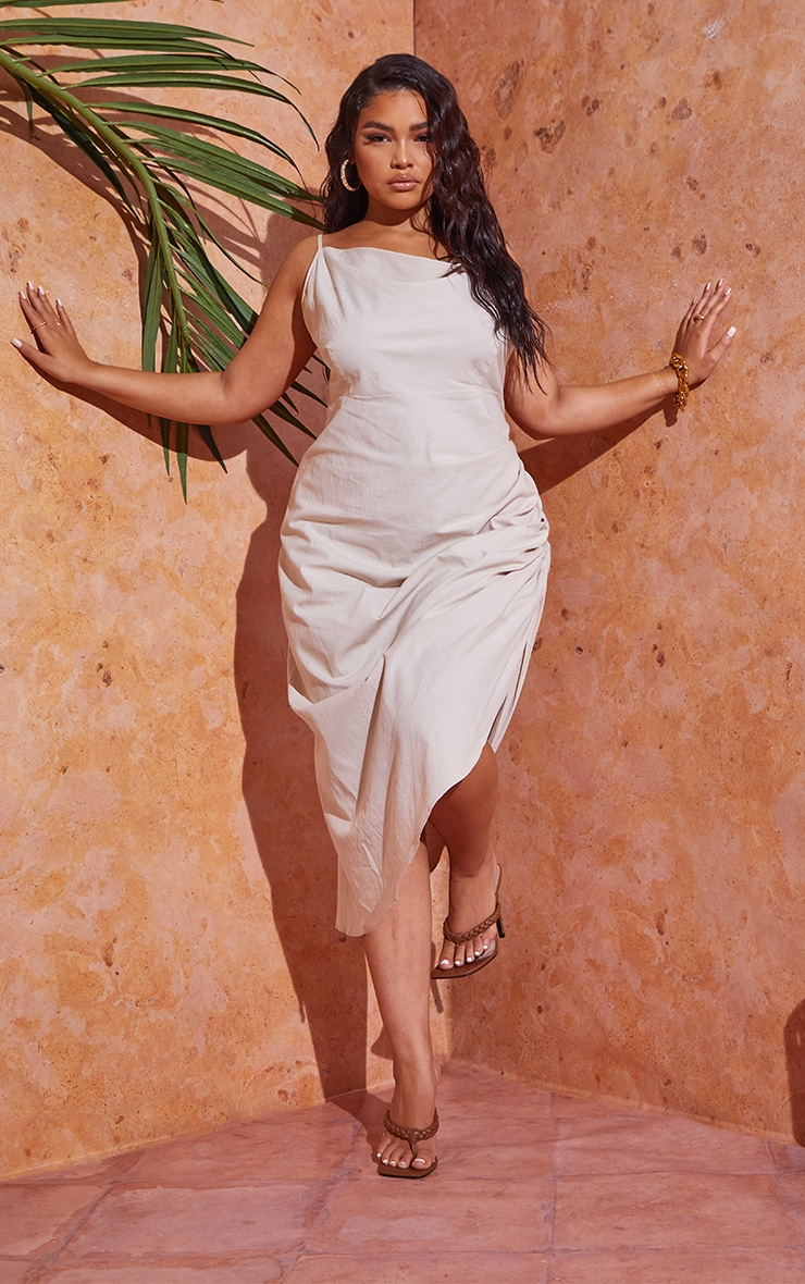 Plus Stone Woven Cowl Neck Midi Dress 1