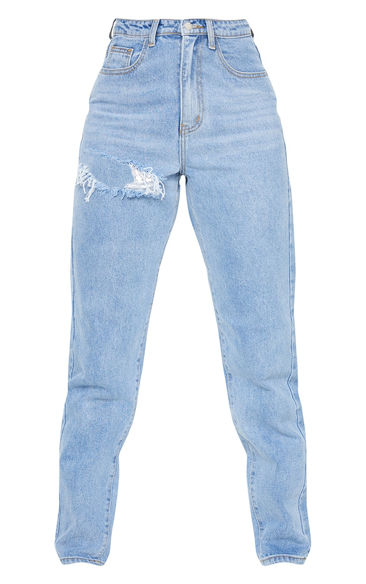 PRETTYLITTLETHING Tall Light Blue Wash Thigh Ripped Mom Jeans 5