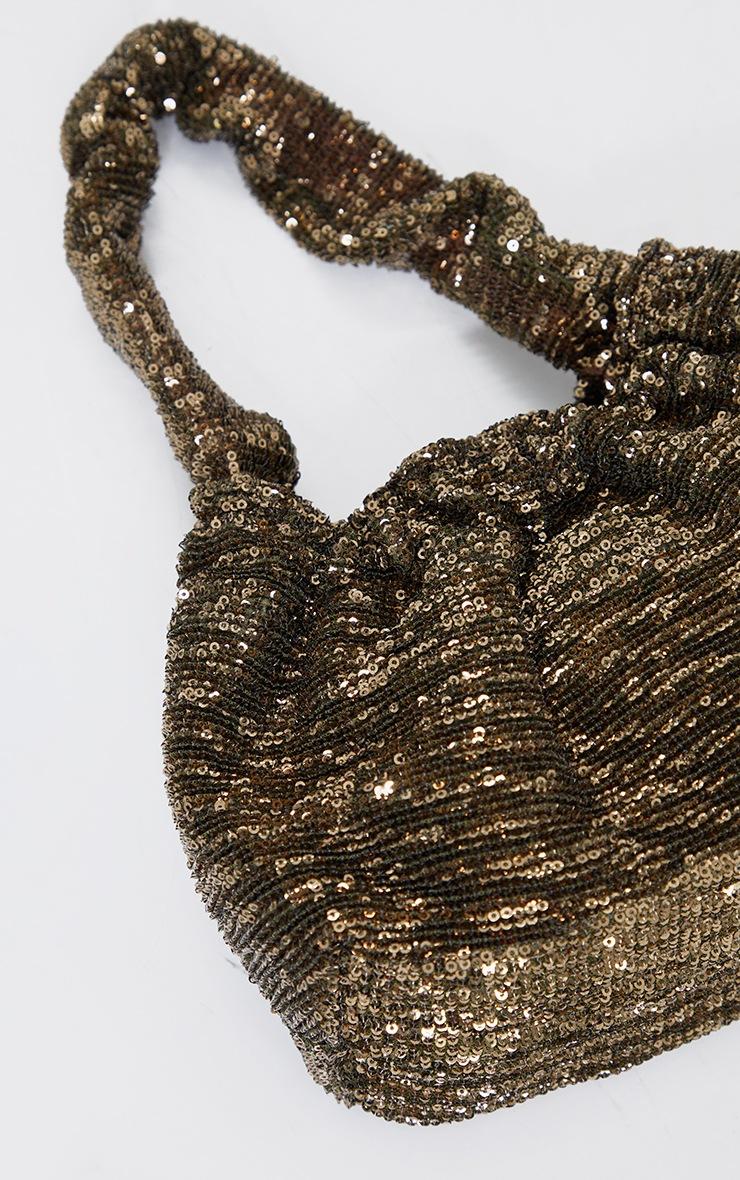 Gold Sequin Ruched Handle Bag 3