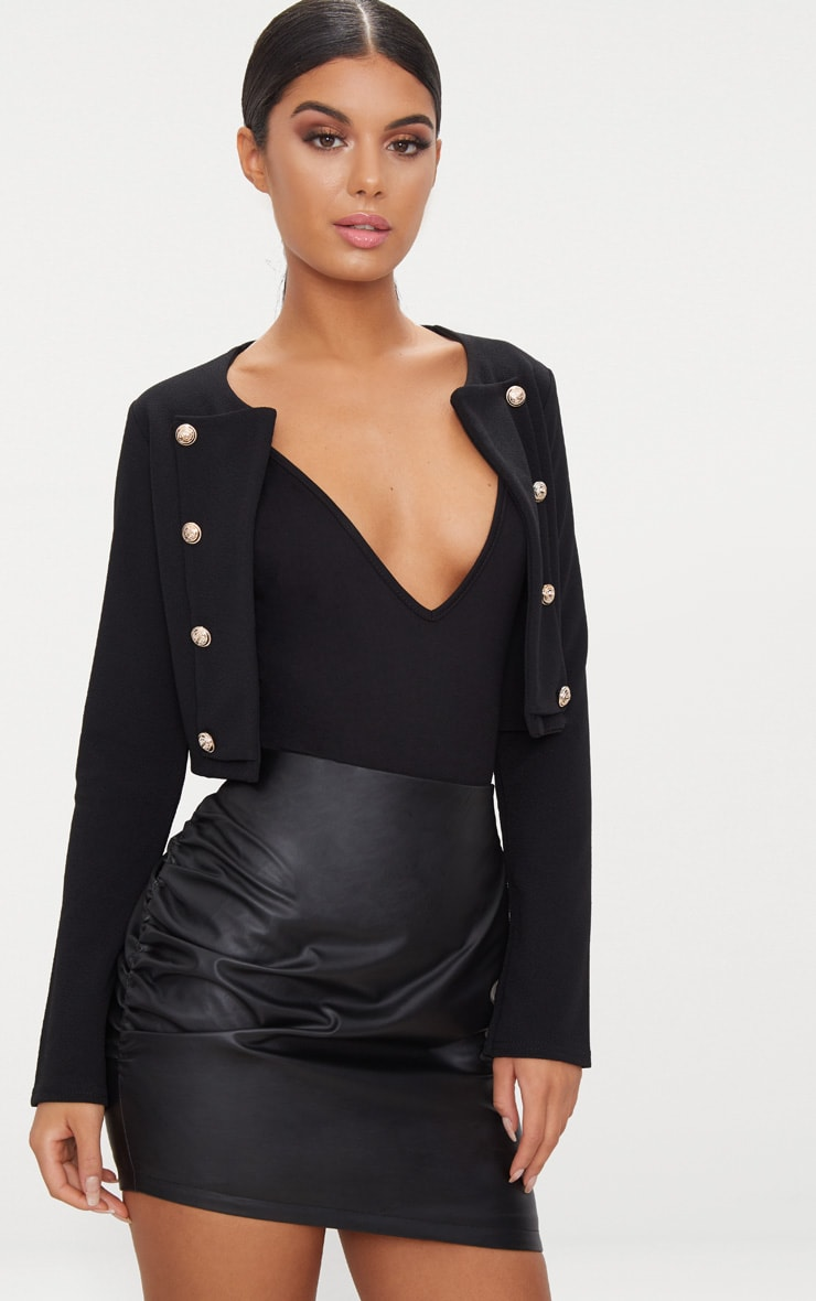 Black Faux Leather Ruched Side Mini Skirt