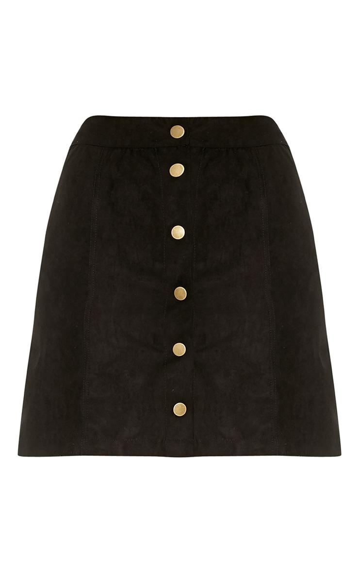 Carmelita Black Suede Button Front Skirt 3