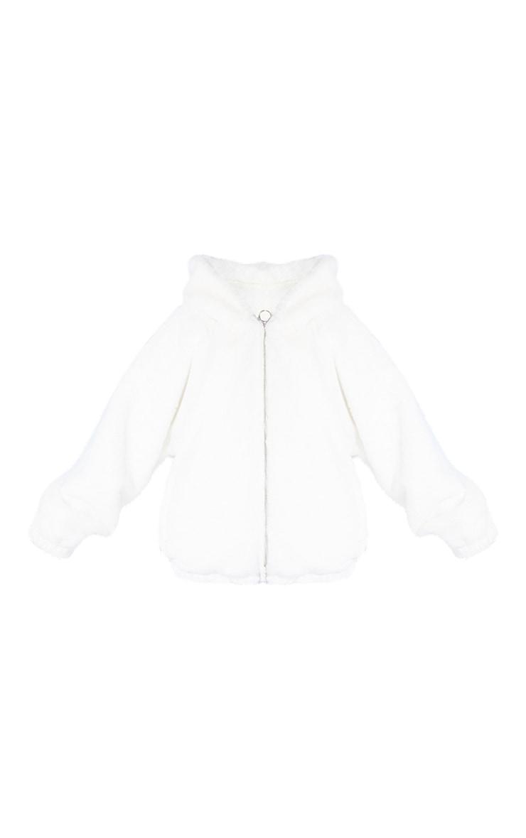 Petite Cream Faux Fur Balloon Sleeve Hooded Jacket 5