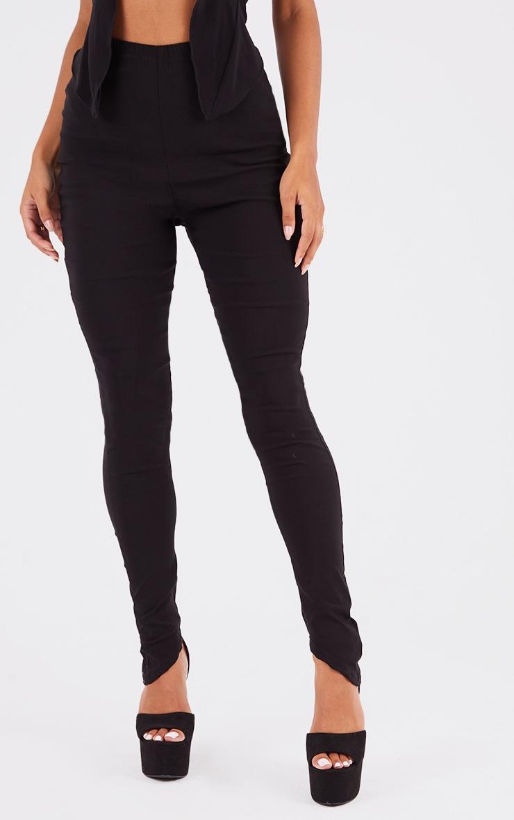 Black Bengaline Asymmetric Hem Leggings 2