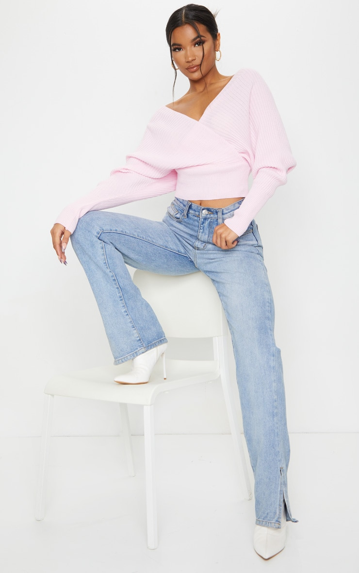 Baby Pink Off The Shoulder Wrap Sweater 3