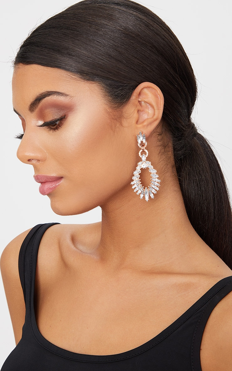 Rose Gold Statement Diamante Earrings 1