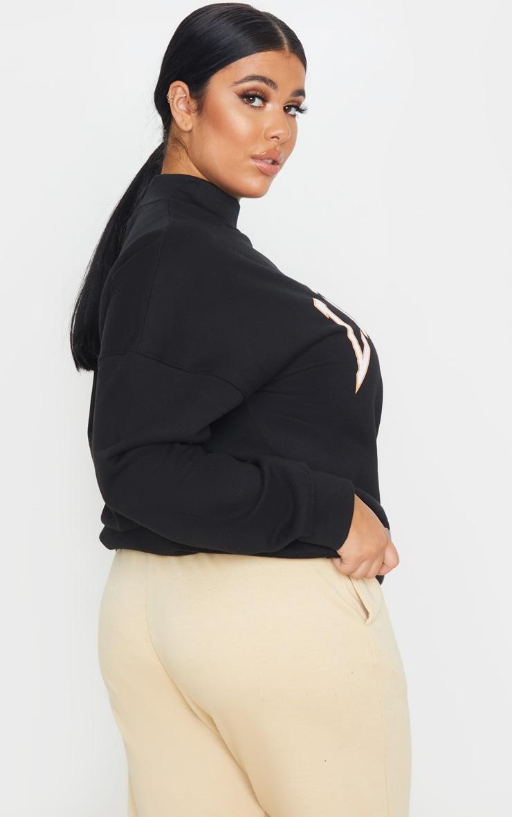 Plus Black Louisiana Print Oversized High Neck Sweater 2