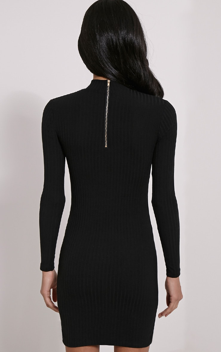 Melodie Black Ribbed Zip Back Dress 2