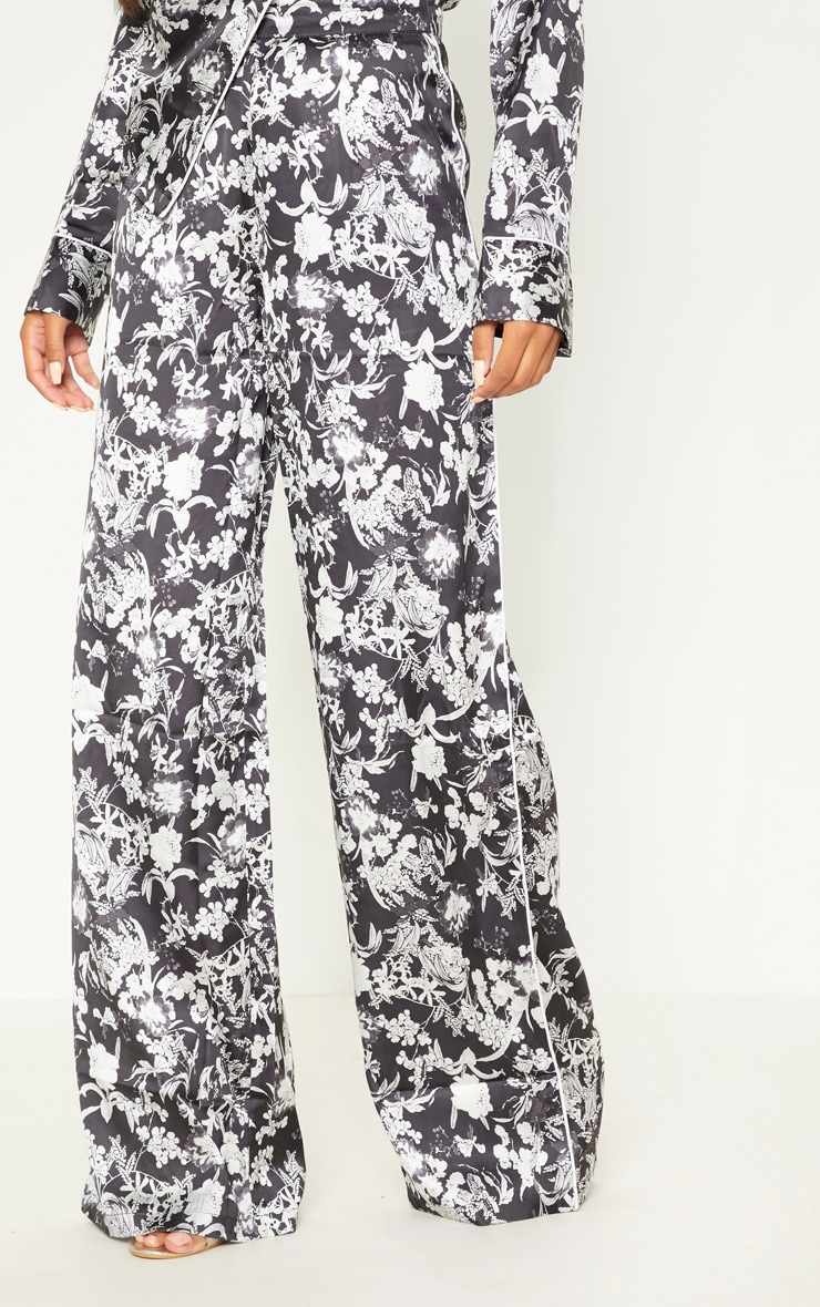 Black Floral Satin Printed Wide Leg Trousers 2