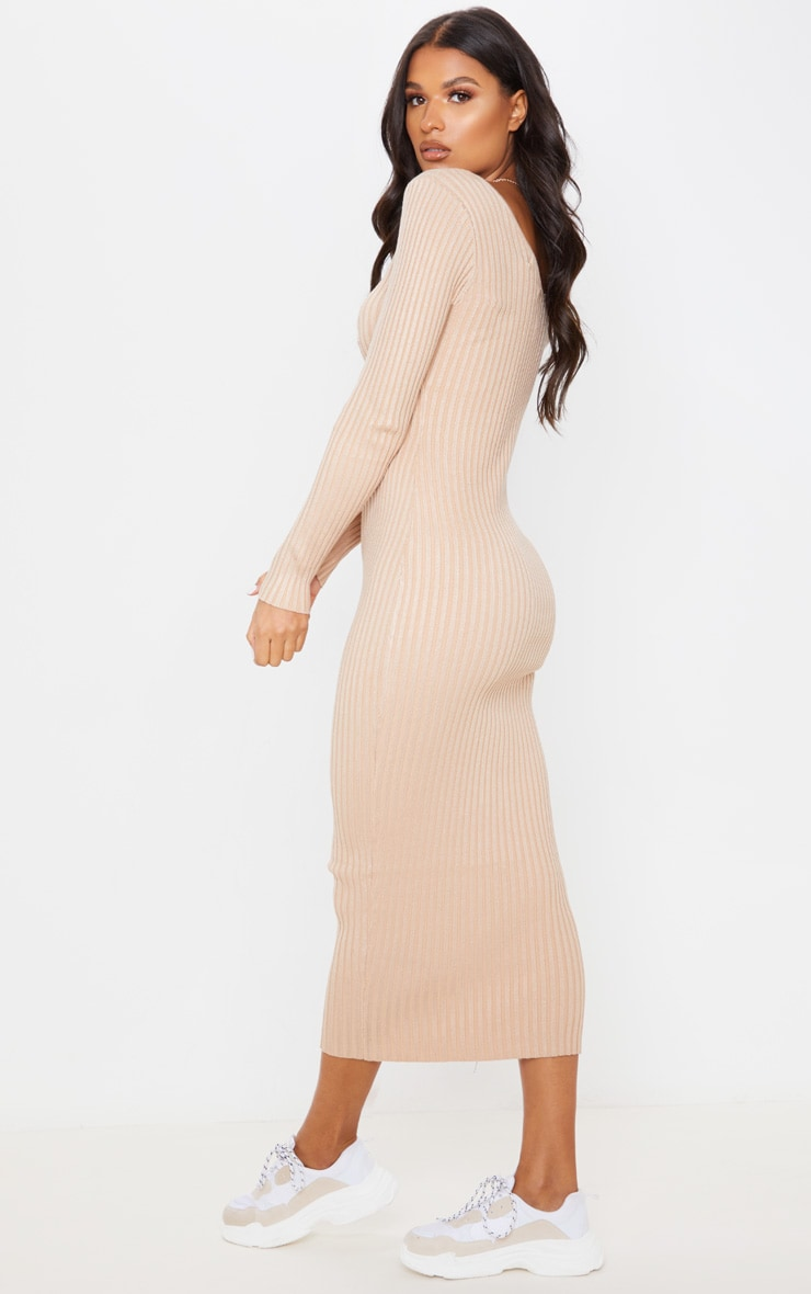 Stone Off Shoulder Rib Knitted Midaxi Dress 4
