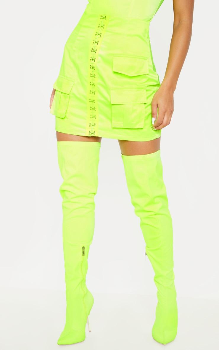 Neon Yellow Hook & Eye Pocket Detail Mini Skirt 2