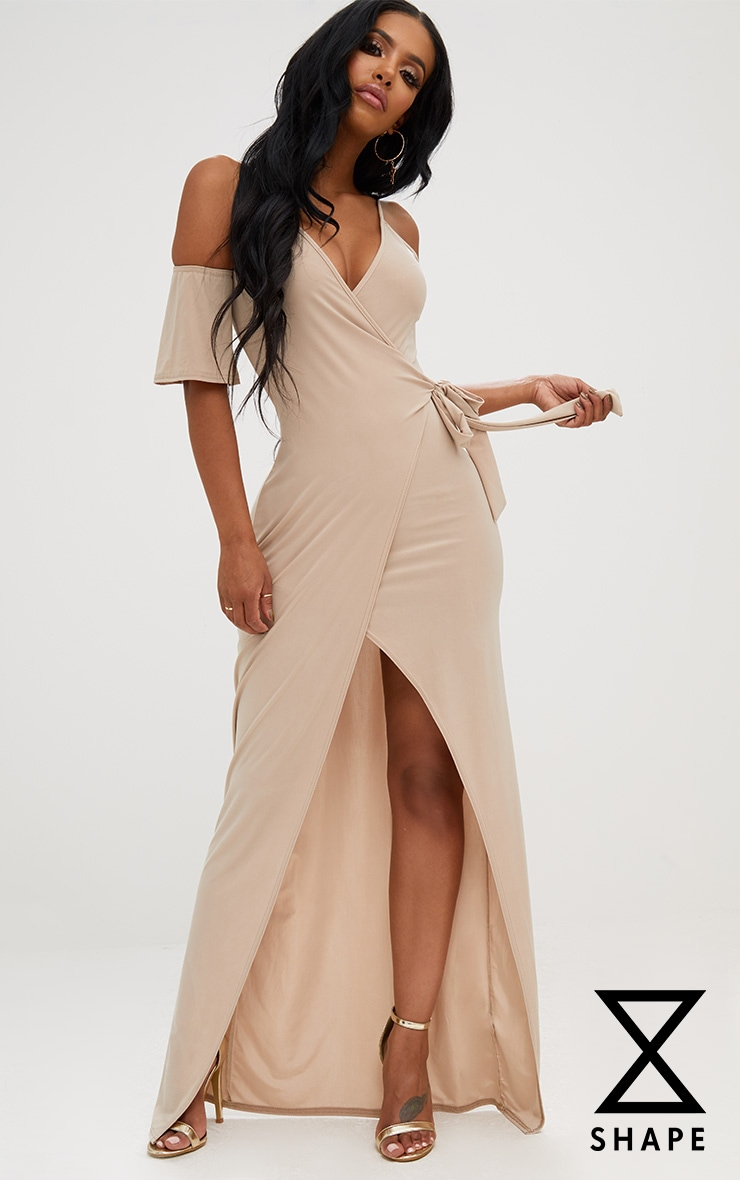 Shape Stone Slinky Wrap Front Maxi Dress 1
