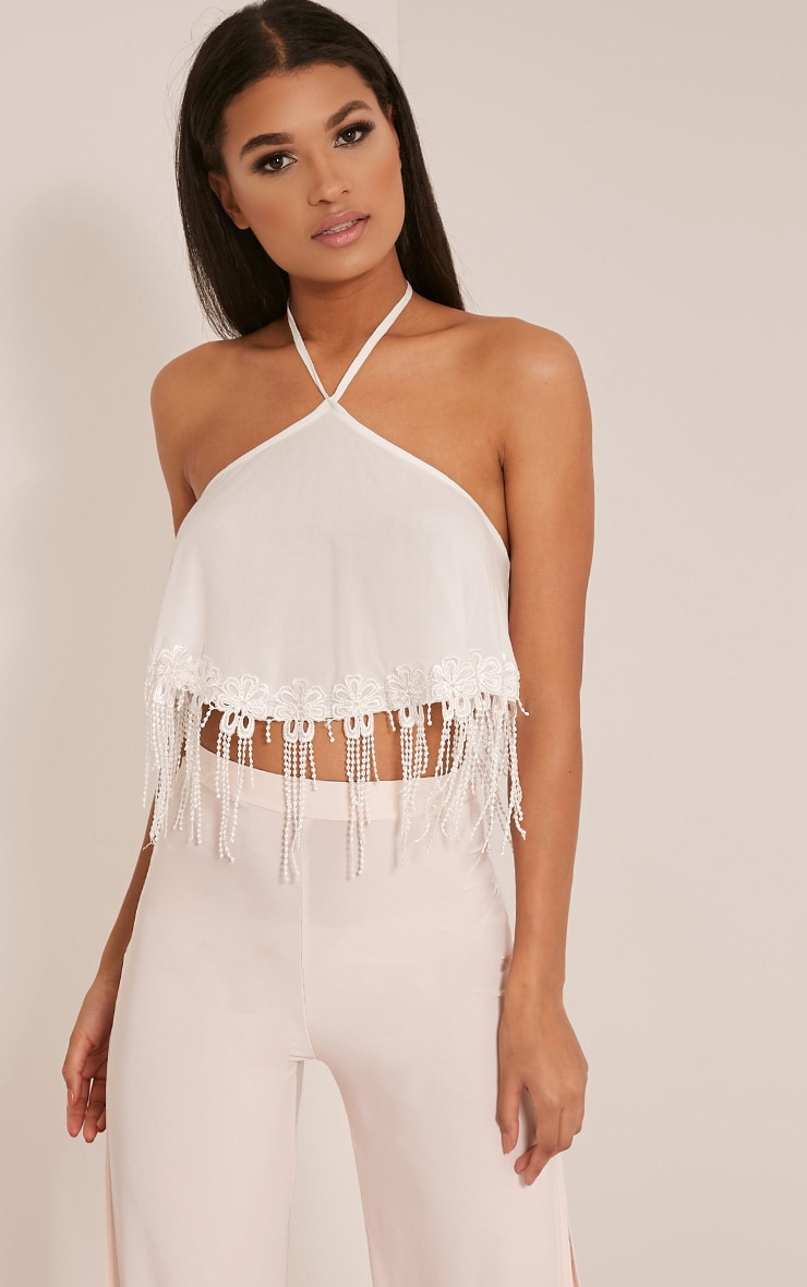 Aliyah White Applique Trim Halterneck Crop Top 1
