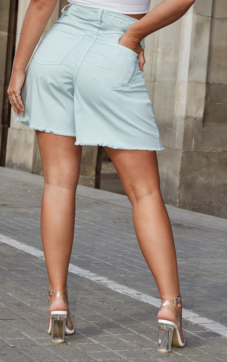 Petite Mint Denim Longline Shorts 2