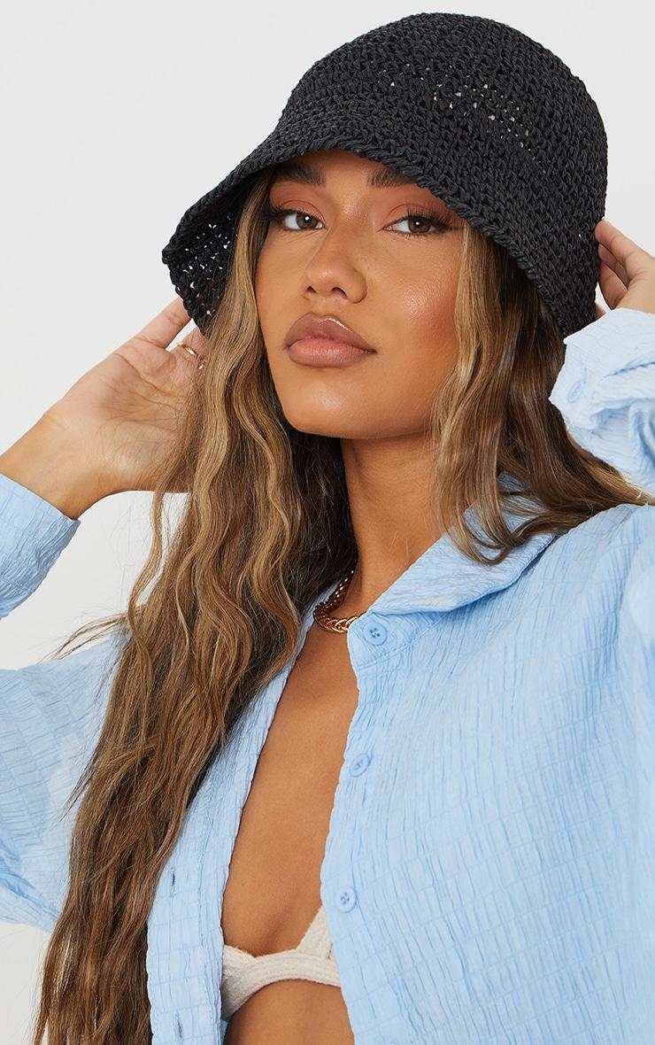 Black Crochet Bucket Hat 1