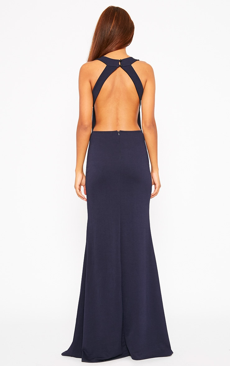 Brandy Navy Plunge Maxi Dress 2